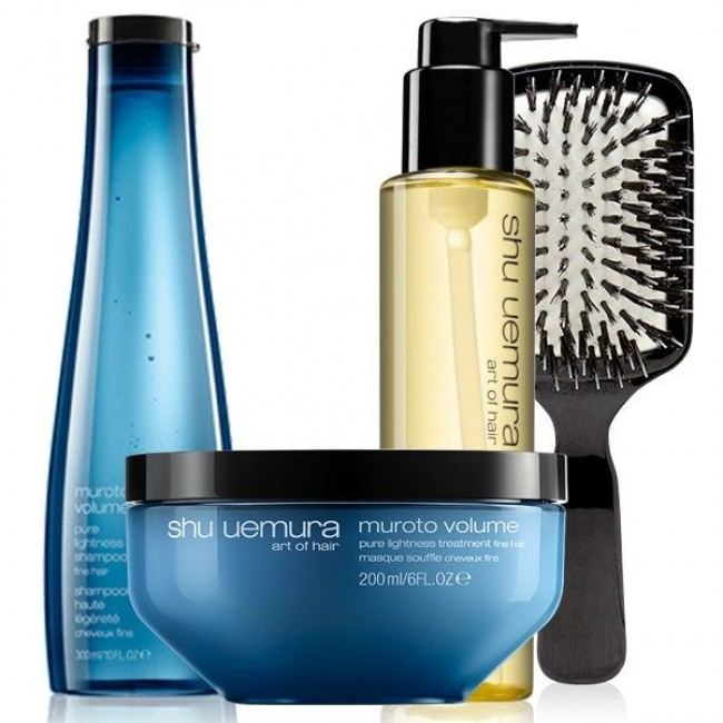 Shu Uemura Muroto Volume Brush Set ( Muroto Volume Shampoo 300ml ,Muroto Volume Masque 200ml,Nourishing Protective Oil 150ml)